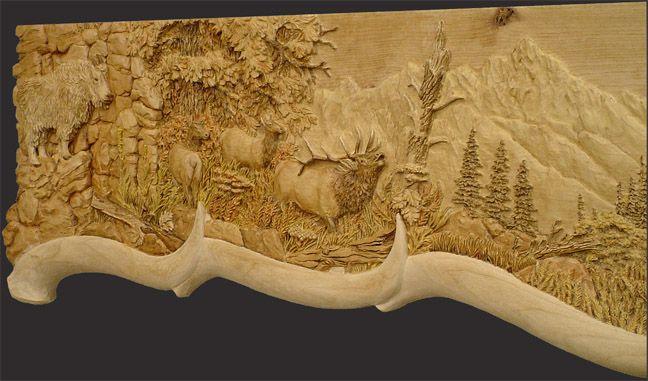 Elk relief mantel wildlife wood carvings pinterest