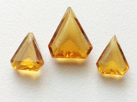 Citrine Orange Colored Glass 3 Pc Faceted Fancy by gemsforjewels