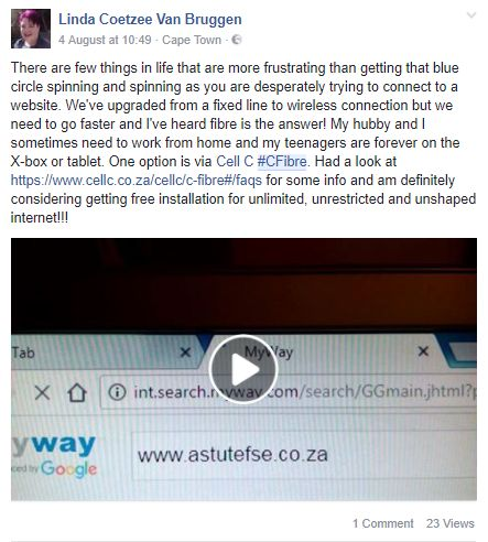 Screenshot from one of our #CellC influencers. #InfluencerMarketing #WordOfMouthAdvertising #theSALT