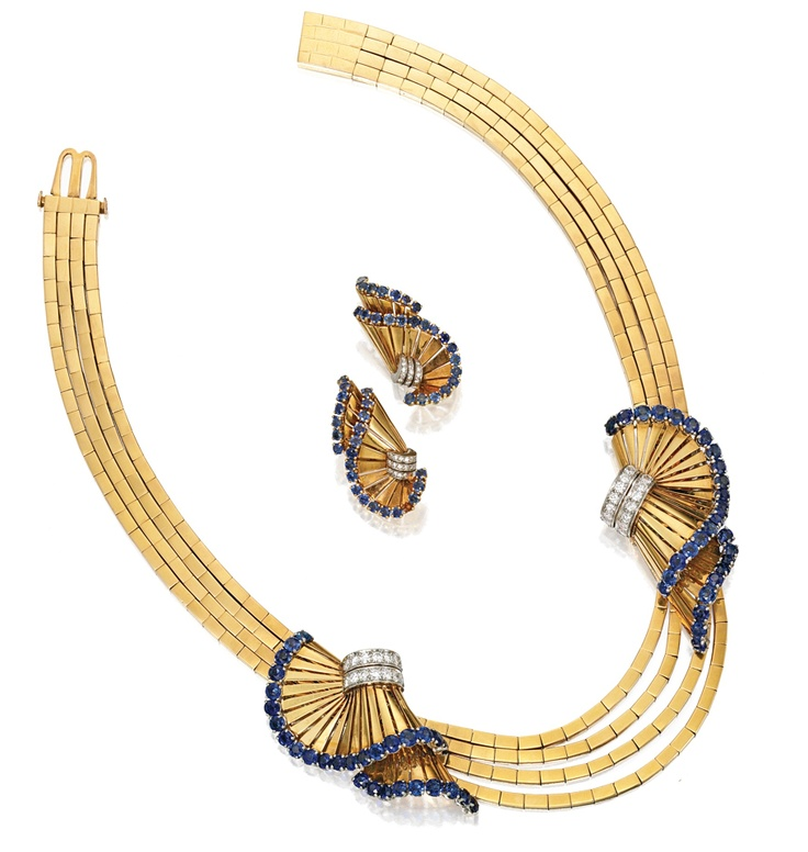 18 KARAT TWO-COLOR GOLD, SAPPHIRE AND DIAMOND NECKLACE-CLIPS COMBINATION AND MATCHING EARCLIPS, GÜBELIN, circa 1945