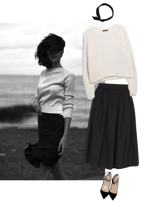 MINIMAL + CLASSIC: north by honeylucy featuring Mango white cotton sweater, $58 / Dsquared2 black midi skirt, $250 / Christian louboutin shoes / Marc Jacobs head wrap headband