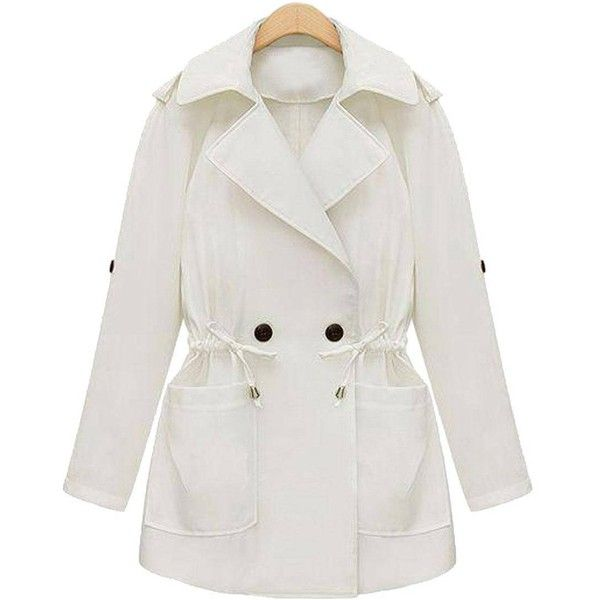 Yoins Plus Size White Tie-Waist Trench Coat-White  XL/XXL/3XL/4XL/5XL ($41) ❤ liked on Polyvore featuring outerwear, coats, white, oversized coat, white coat, white trench coat, womens plus size coats and white trenchcoat
