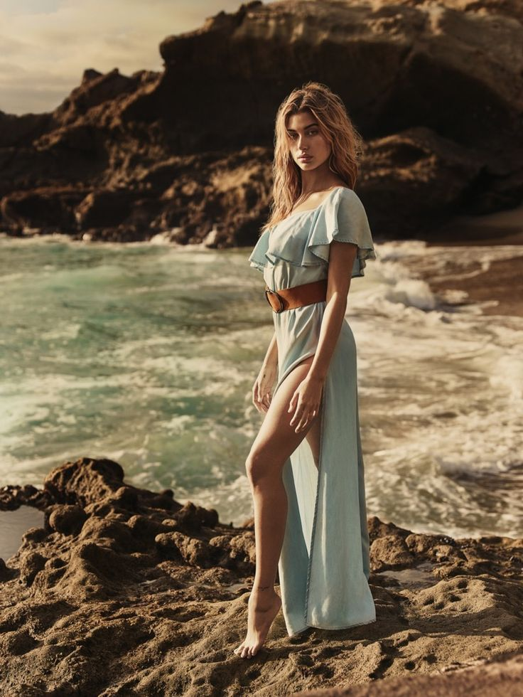 Hailey Baldwin models Belle One-Shoulder Dress from Guess' spring 2017 collection