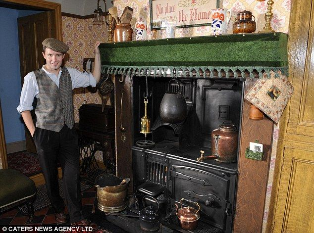 (Hm, that green skirt. ) Home on the range: Peter uses the original cooking features, but admits to having a microwave oven neatly hidden away