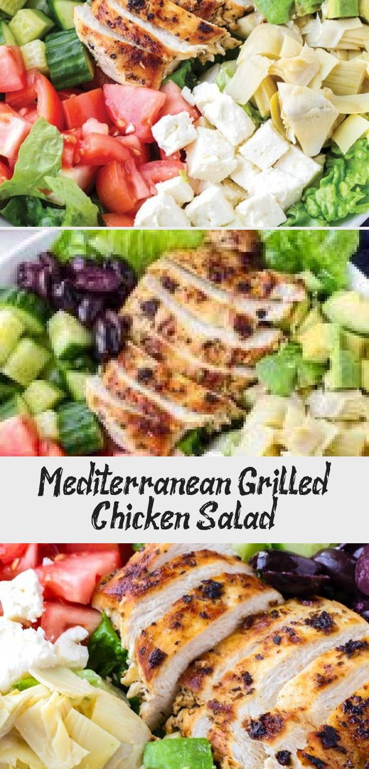 The best Mediterranean Chicken Salad! This Mediterranean grilled chicken salad is made with juicy a flavorful grilled chicken breast, complete with a mediterranean red wine dressing. Tossed feta, olives, avocado, and artichokes #cookingformysoul #mediterraneansalad #mediterraneandiet #grilledchickensalad #grilledchicken #mediterraneangrilledchicken   cookingformysoul.com #saladrecipesBroccoli #Easysaladrecipes #saladrecipesWithChicken #Mexicansaladrecipes #Salmonsaladrecipes
