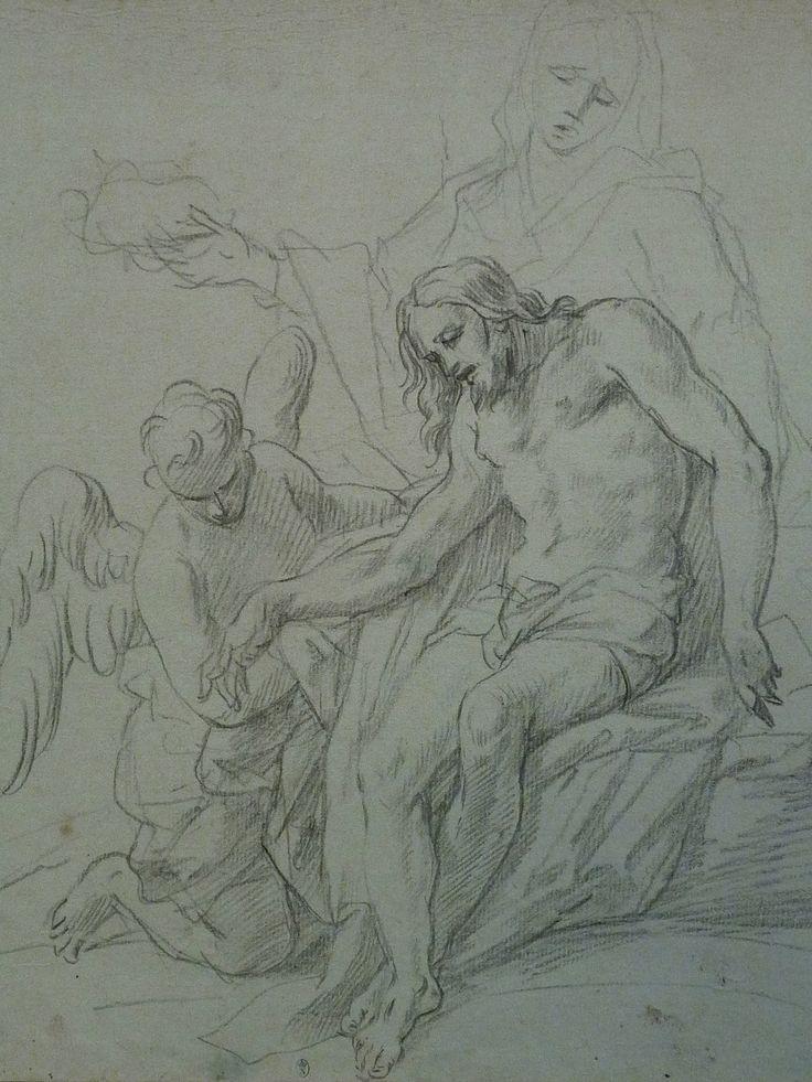 AVELLINO Anofrio - Le Christ mort soutenu par la Vierge et un Ange - drawing.
