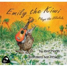 """Emily the Kiwi Plays the Ukulele. """"Everyone knows that kiwi birds always sleep in the day – all except Emily the Kiwi, who loves to play here ukulele."""" A story about the joy of music, and sharing. Also featuring Annie the Granny, Louie the Tui, Molly Morepork, Abigail Fantail, and others. A rhyming picture book by award winning New Zealand author Janet Martin with illustrations by Ivar Treskon. Made in New Zealand for ages 2-6.  See more at www.entirelynz.co.nz/gifts"""