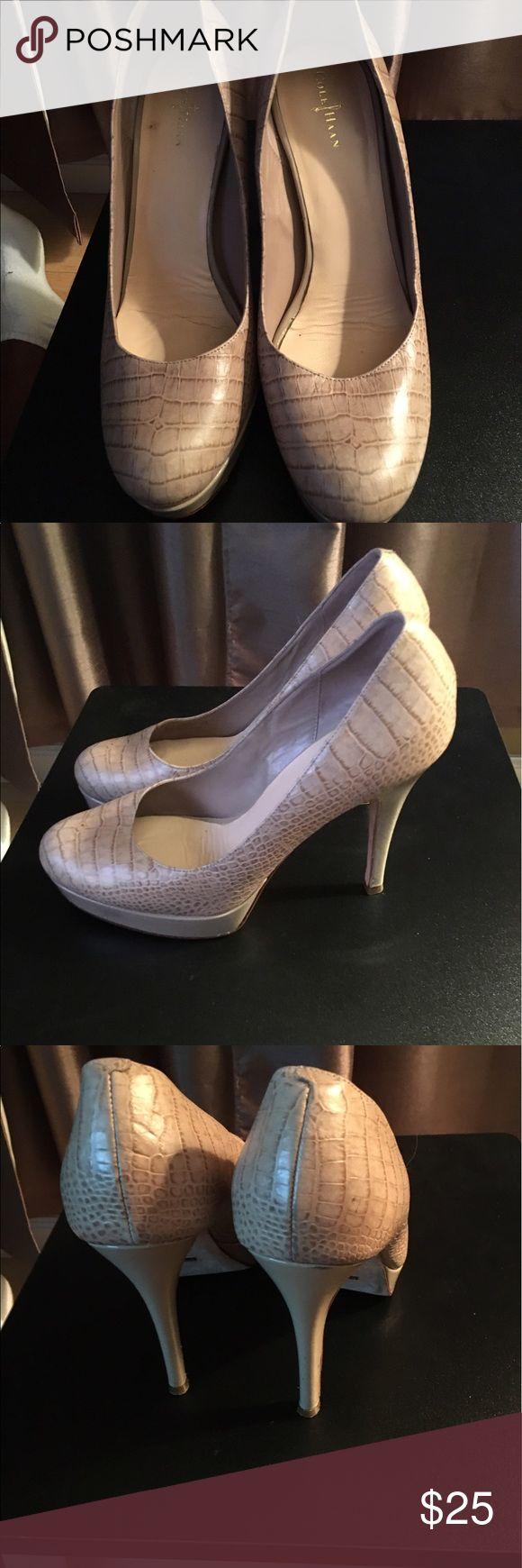 Cole Haan high heeled shoe Neutral, platform leather high heel shoe with croc detail. Cole Haan Shoes Heels