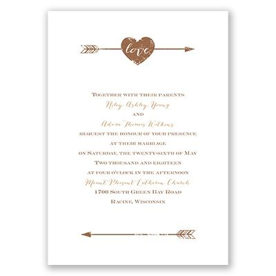 Love strikes again, clean through the heart and beautifully depicted on this rustic wedding invitation. The word 'love' appears in white as shown. Design and wording are printed in your choice of colors and fonts. Invitation includes inner and outer envelopes. This product features thermography printing, an affordable printing process that results in raised lettering.