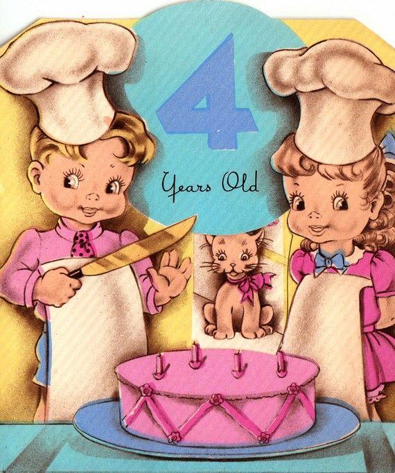 Vintage 1940s 4 Year Old Birthday Greetings By Poshtottydesignz
