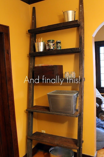 diy ladder shelf from reclaimed wood craft and diy. Black Bedroom Furniture Sets. Home Design Ideas