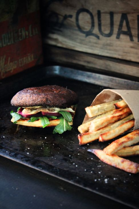 Grilled halloumi and portabello burgers