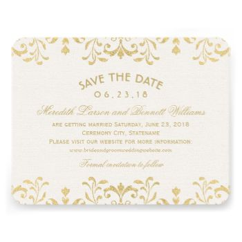Elegant vintage inspired wedding save the date announcements feature an ornate decorative border design with a metallic champagne gold shimmer appearance. #art #deco #wedding #save #the #date #save #the #dates #vintage #glam #glamour #elegant #style #formal #opulent #custom #design #template #filigree