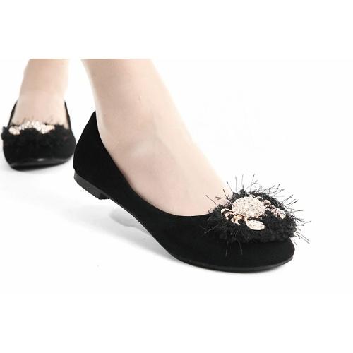 Trendy Black Velvet Flat Evening Bridesmaid Prom Dressy Shoes Flats  SKU-1090142