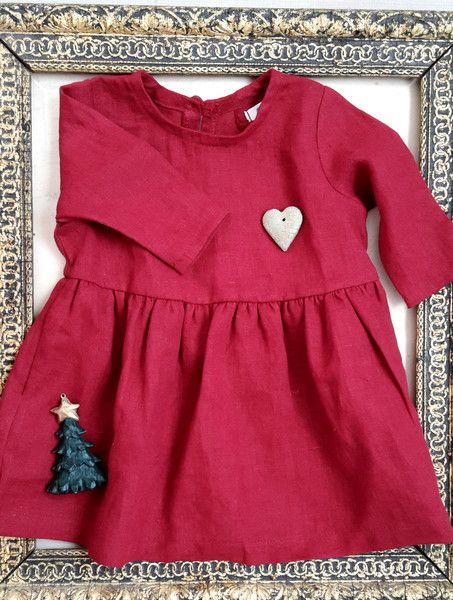 Kleider - Rot Leinenkleid für Mädchen. Weihnachten Kleid - ein Designerstück von HanaAT bei DaWanda