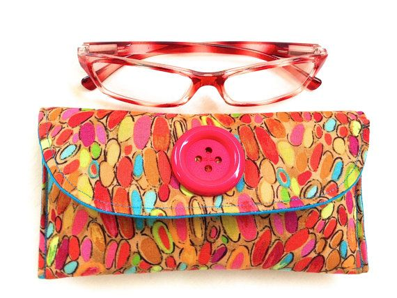 Fabric Sunglasses Spectacle Case Handmade Pink by ArabellaBlossoms, $30.00