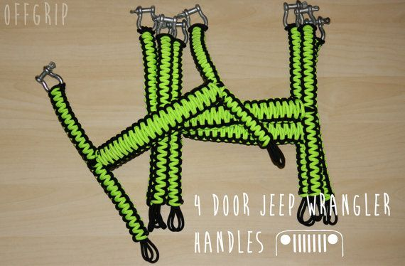 Check out our Custom  4 Door JK Jeep Wrangler Paracord Handles! We have a selection of awesome colors you can choose from! Sizing matters! These Handle Grips are made to fit a 2007-2014 JK Jeep Wrangler 4 Door  This is a package of 4 complete handles.