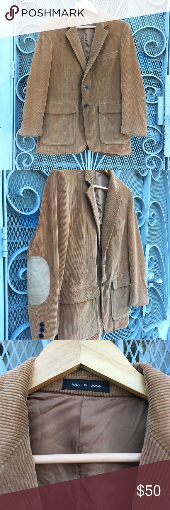 "Vintage Japanese corduroy elbow patch jacket Channel your inner professor in this vintage corduroy jacket with elbow patches. Made in Japan. Fits about a M. 21"" pit to pit and 29"" long. No tryons or trades but offers welcome Vintage Jackets & Coats"