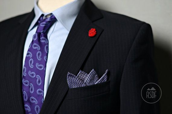 """Pocket square plaid purple violet linen 15"""" Size of the pocket square is approx 15 (~40cm).  This item is made from 100% linen fabric, which originates from Lithuania. Checked 100% linen fabric"""