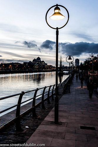 Dublin Docklands at sunset.  These lamp posts are different from the usual ones you see.