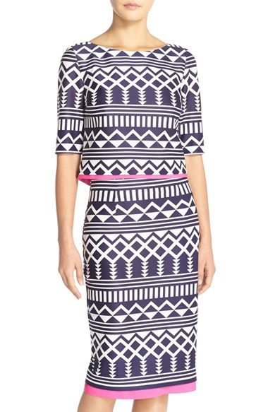 Eliza J Print Scuba Two-Piece Dress (Regular & Petite) available at #Nordstrom