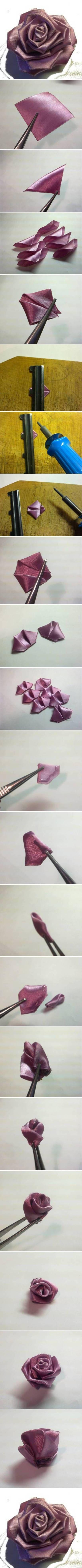 DIY Purple Ribbon Rose