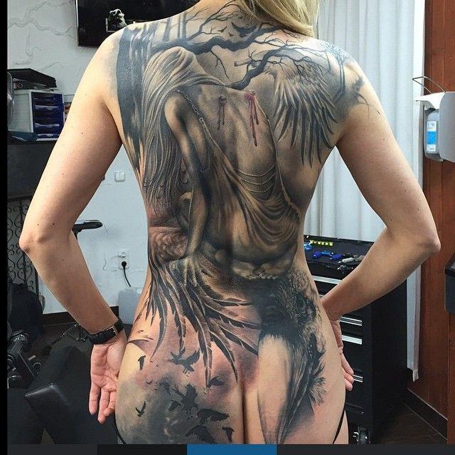 Awesome fallen angel back tattoo