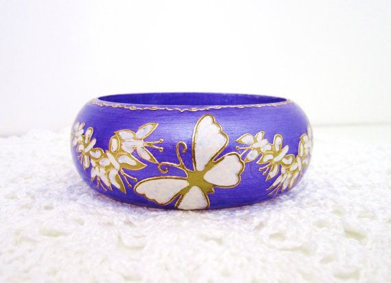 Wood hand painted butterfly bracelet  wooden hand by GattyGatty, $23.00