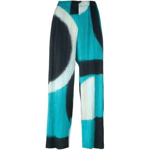 Pleats Please By Issey Miyake Abstract Pattern Cropped Trousers ($531) ❤ liked on Polyvore featuring pants, capris, black, cropped pants, cropped capri pants, blue crop pants, cropped trousers and blue pants