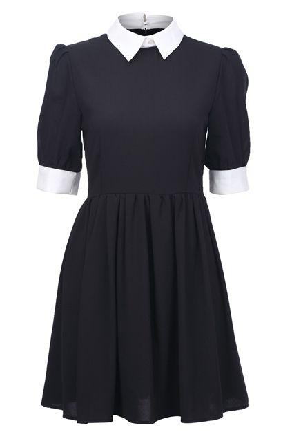 robe noir mercredi adams wenesday col blanc                                                                                                                                                                                 Plus