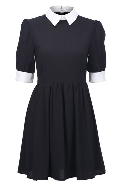 Retro Lapel Neck Black Dress.  Would it  be too much like a Wednesday Addams costume to wear on a regular day?