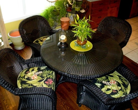 Tropical Dining Room Design  Pictures  Remodel  Decor and Ideas   page 6  Love this dining set  Black wicker with green. 148 best Tropical dining rooms images on Pinterest   Dining rooms