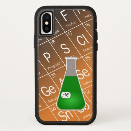 Green Erlenmeyer Flask (with Initials) Chemistry iPhone X Case - initial gift idea style unique special diy