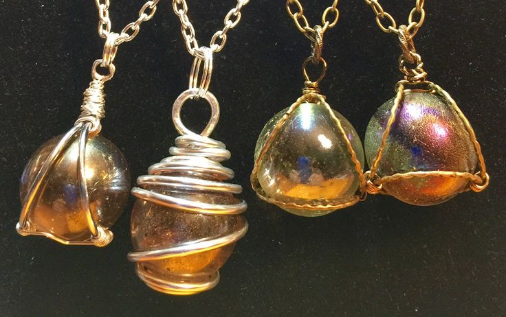Recycled Glass Ball necklaces by WendysSpace on Etsy