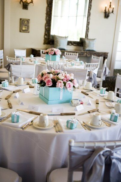 A little too obvious? I like the colors but would avoid the box and use Tiffany Blue napkins to accent.