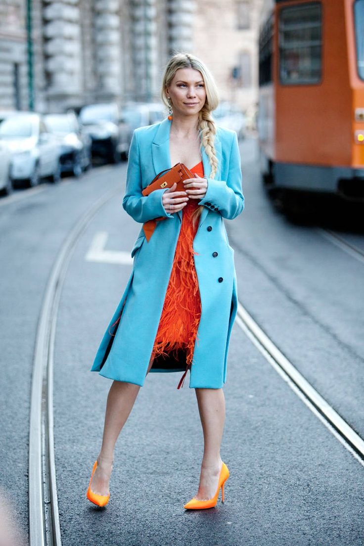 Zhanna Romashka in her favorite colors - Milan Fashion Week. The real strength of Italian fashion is in its fearless color combinations.