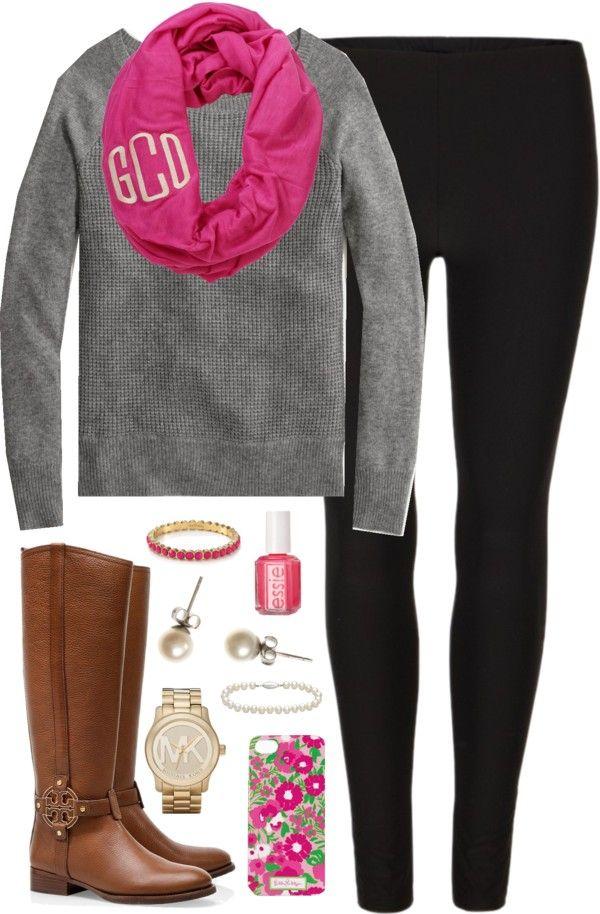 Black leggings, grey sweater, pink monogram scarf and riding boots # fall #ilovethis @Adryana Tetzloff Tetzloff Tetzloff Tetzloff Tetzloff Tetzloff Tetzloff Tetzloff Espinoza C. Oyola- Mena