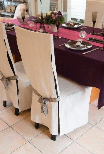 椅子のカバーも手作りしてコーディネート。