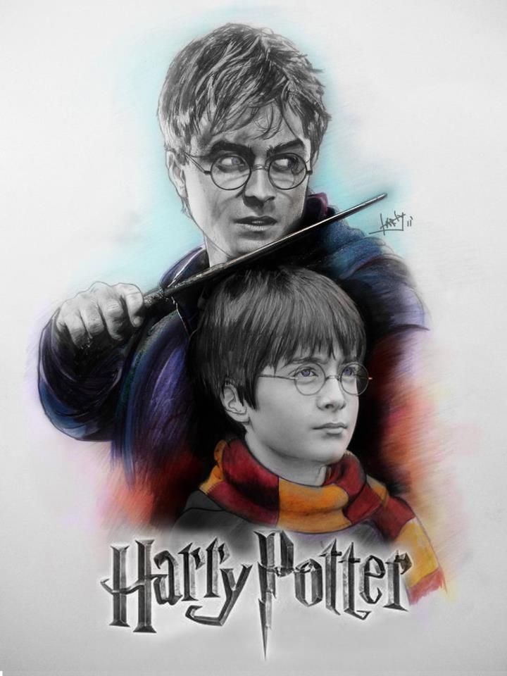 Harry Potter<<< It looks like older harry is holding younger harry hostage.