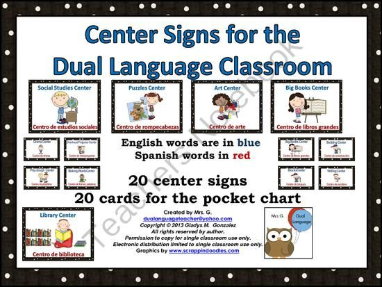 Center Signs for the Dual Language Classroom: English and Spanish from Mrs. G. Dual Language on TeachersNotebook.com -  (29 pages)  - English and Spanish Center signs for the bilingual or dual language classroom.