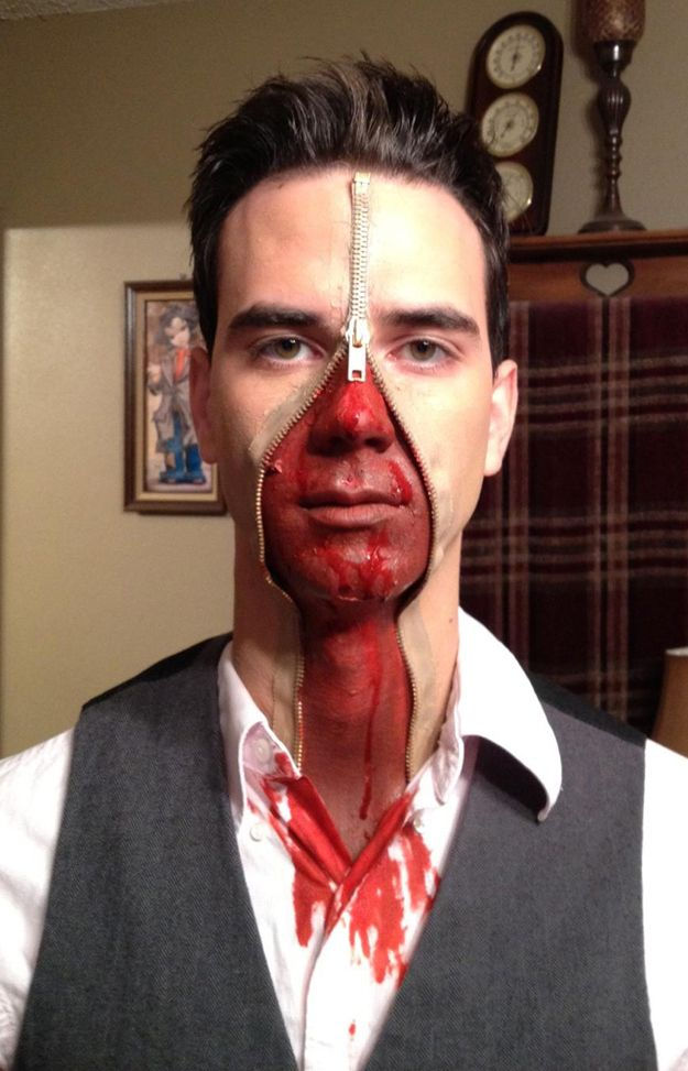 Halloween Zipper Face Makeup for Guys