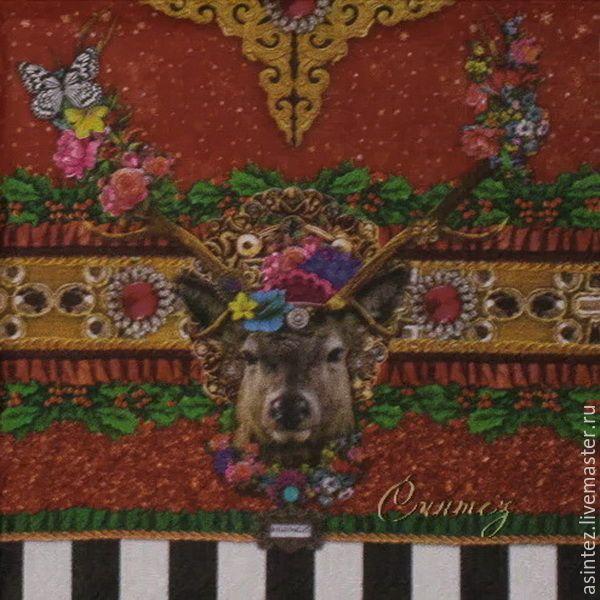 Купить салфетки для декупажа олень барокко декупажная салфетка - салфеткадлядекупажа, салфеткадекупажная, цветочный орнамент