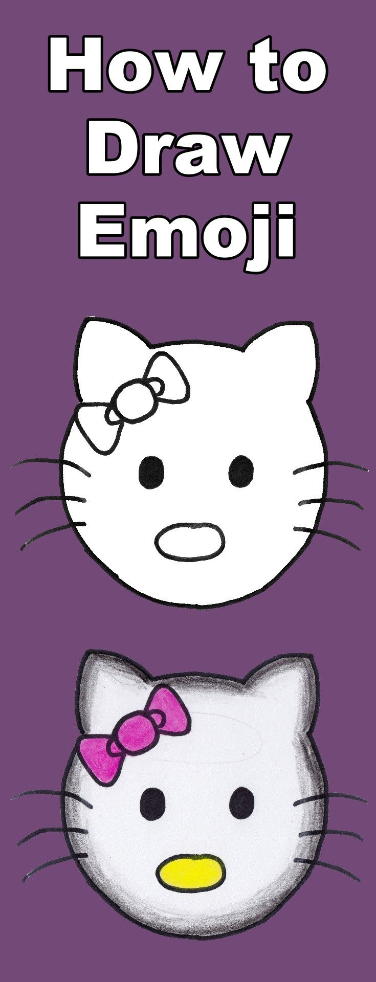 Learn how to draw Hello Kitty as an emoji in this tutorial which includes a teaching video and coloring page download