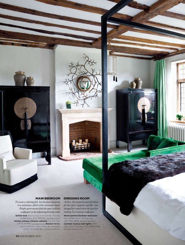 perfect bedroom, armoires of my dreams, green, black, white, beams, fireplace