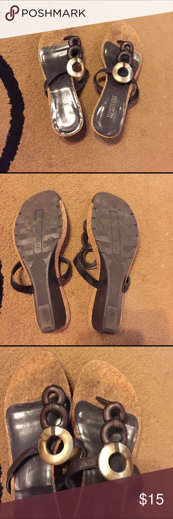 Ladies sandals Ladies wedge sandals. Used condition but still very comfortable & cute for the summer!!:) Kenneth Cole Reaction Shoes Sandals