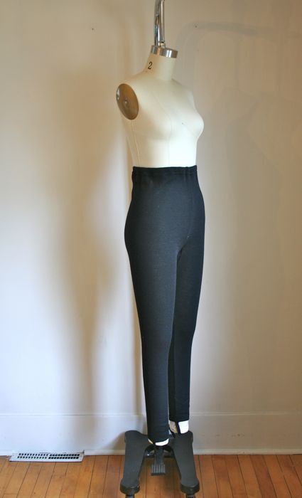 Vintage 60s Wool Pants Ski Stirrups Black Leggings S M