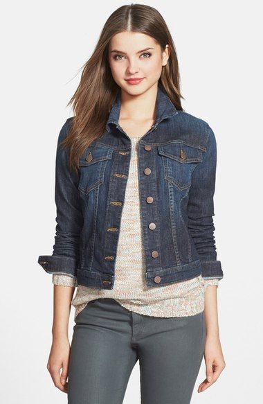 I really like denim jackets, and I like the darker wash color and how this is nice and fitter at the waste, it's not too boxy. KUT from the Kloth 'Helena' Denim Jacket (Regular & Petite) available at #Nordstrom