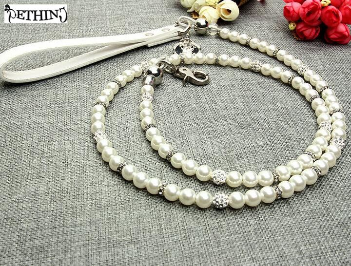 >> Click to Buy << Luxury White Imitation Pearls diamond ball Pet Dog Chain Leash Walking Jogging Leads Leashes for Small Medium Size Dog Cat lead #Affiliate