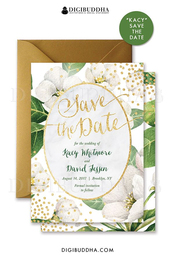 White blossom floral Save the Date Card invitation with gold glitter sparkle confetti details. White vintage botanicals with green foliage. Choose from ready made printed invitations with envelopes or printable Save the Dates. Gold shimmer envelope and matching envelope liner also available separately, at digibuddha.com