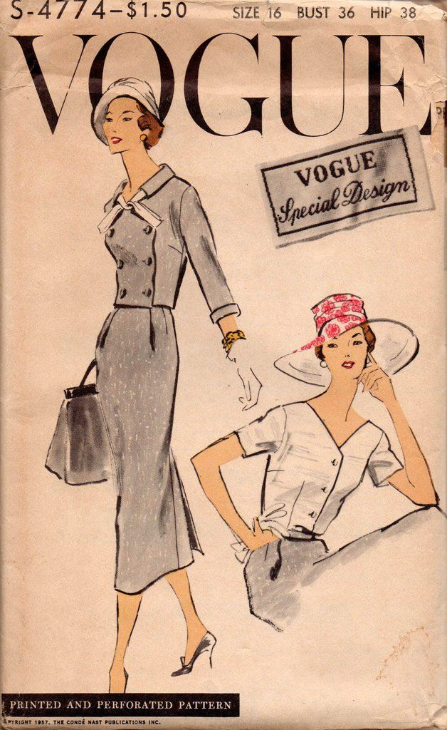 Vogue s-4774 50s Suit & Blouse Vintage Sewing Pattern Size 16 Bust 36 inches UNCUT Factory Folds